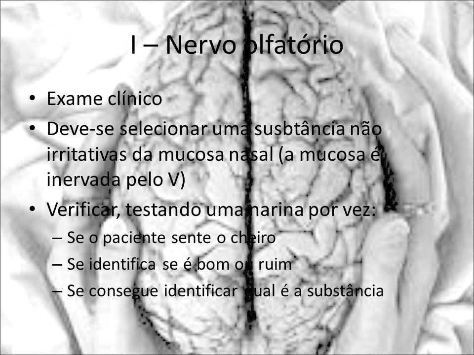 I – Nervo olfatório Exame clínico
