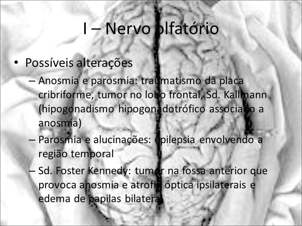I – Nervo olfatório Possíveis alterações