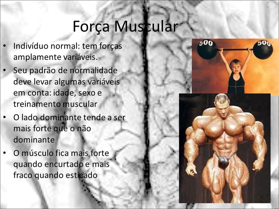 Força Muscular Indivíduo normal: tem forças amplamente variáveis.