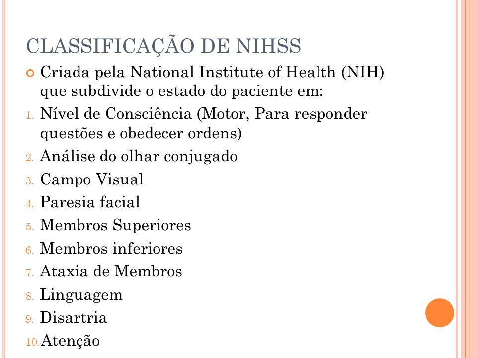 CLASSIFICAÇÃO DE NIHSS