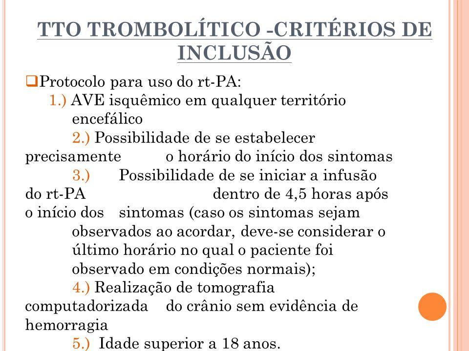 TTO TROMBOLÍTICO -CRITÉRIOS DE INCLUSÃO