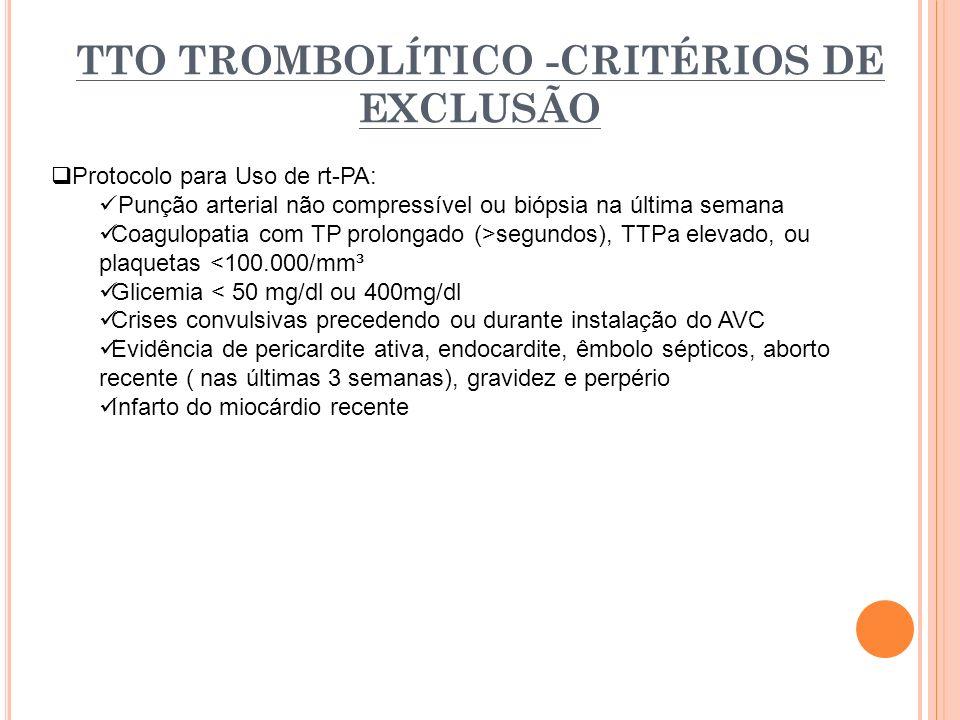 TTO TROMBOLÍTICO -CRITÉRIOS DE EXCLUSÃO