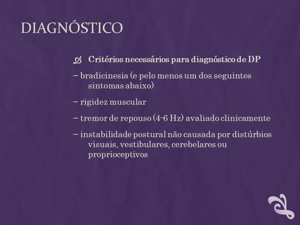 Diagnóstico Critérios necessários para diagnóstico de DP