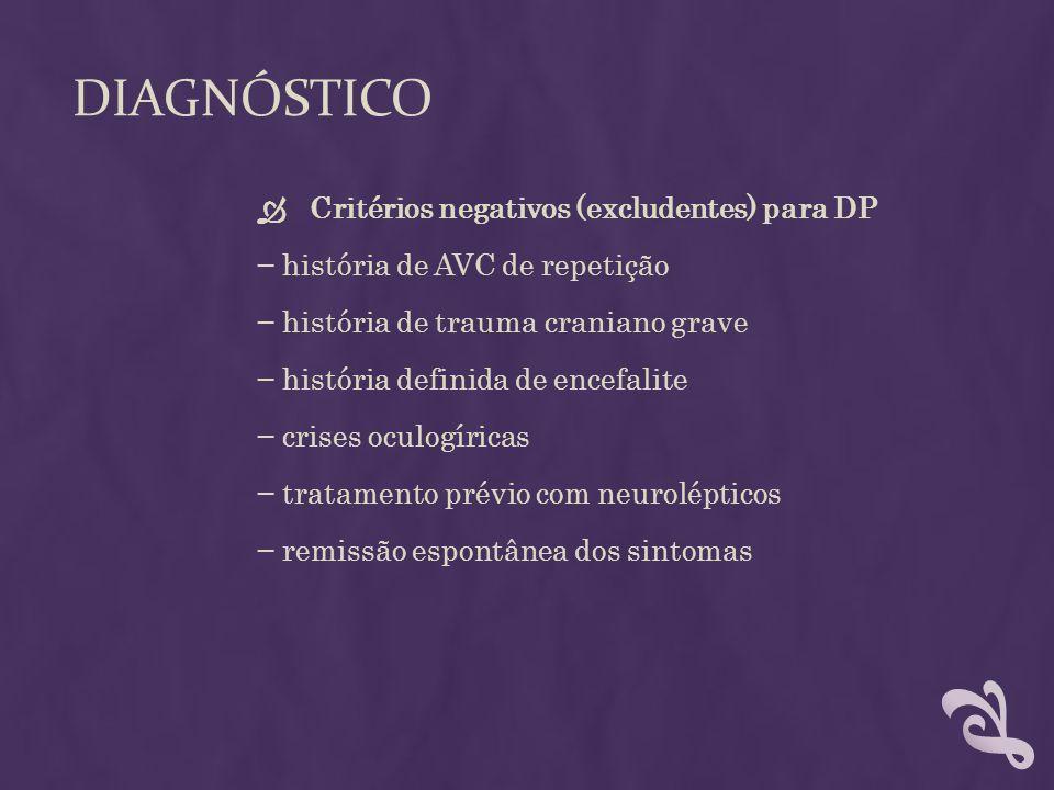 Diagnóstico Critérios negativos (excludentes) para DP