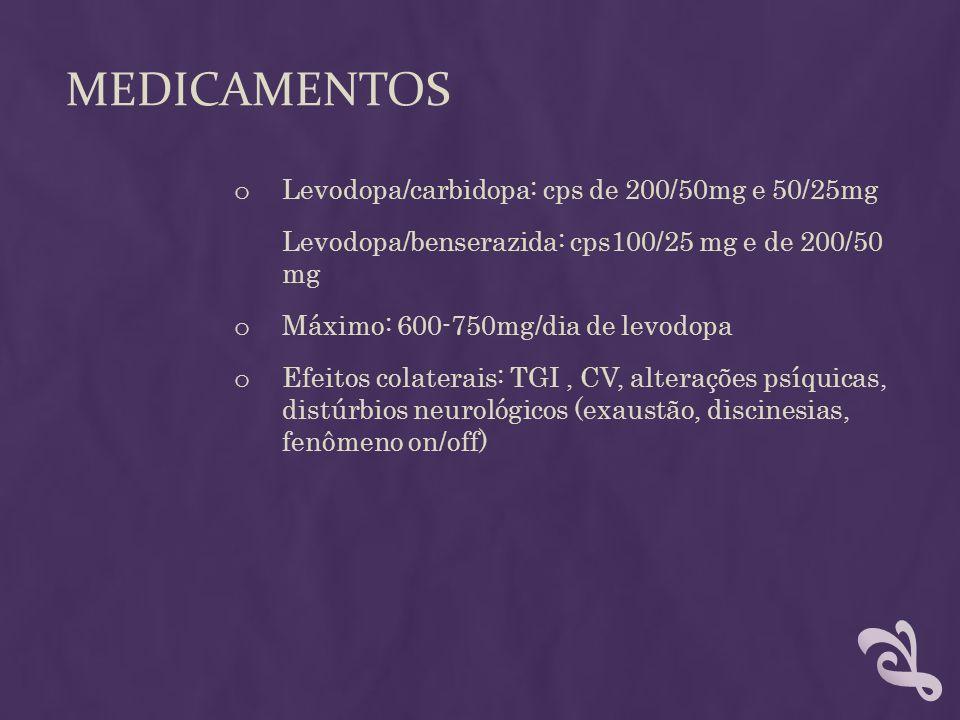 medicamentos Levodopa/carbidopa: cps de 200/50mg e 50/25mg