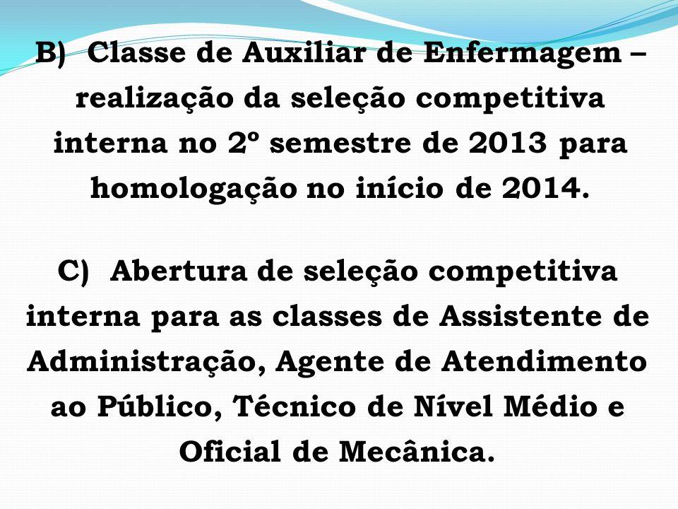 B) Classe de Auxiliar de Enfermagem – realização da seleção competitiva interna no 2º semestre de 2013 para homologação no início de 2014.