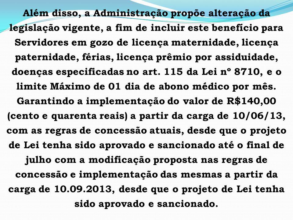 Além disso, a Administração propõe alteração da legislação vigente, a fim de incluir este benefício para Servidores em gozo de licença maternidade, licença paternidade, férias, licença prêmio por assiduidade, doenças especificadas no art.