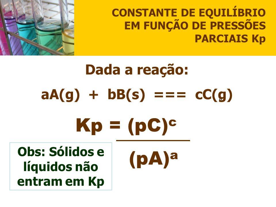 CONSTANTE DE EQUILÍBRIO EM FUNÇÃO DE PRESSÕES PARCIAIS Kp