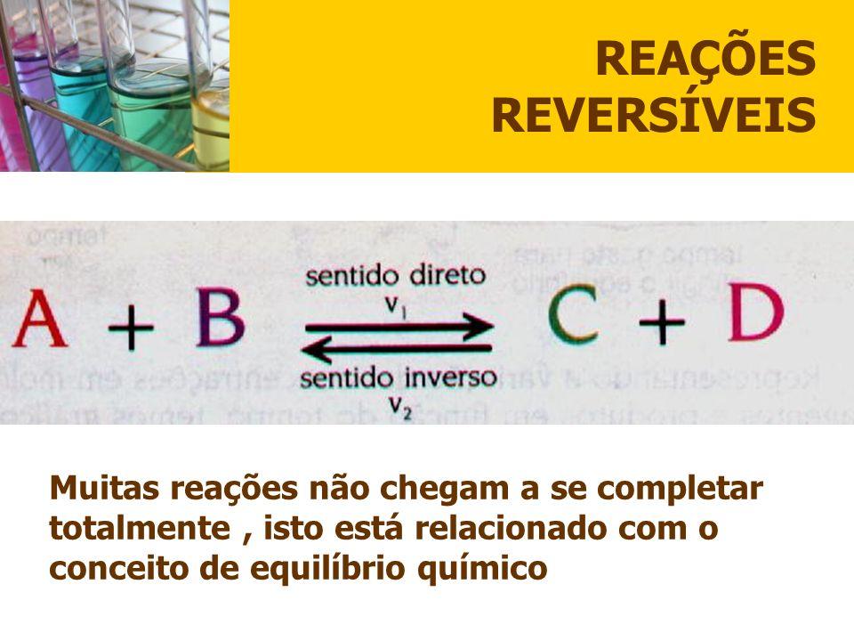 REAÇÕES REVERSÍVEIS Muitas reações não chegam a se completar totalmente , isto está relacionado com o conceito de equilíbrio químico.