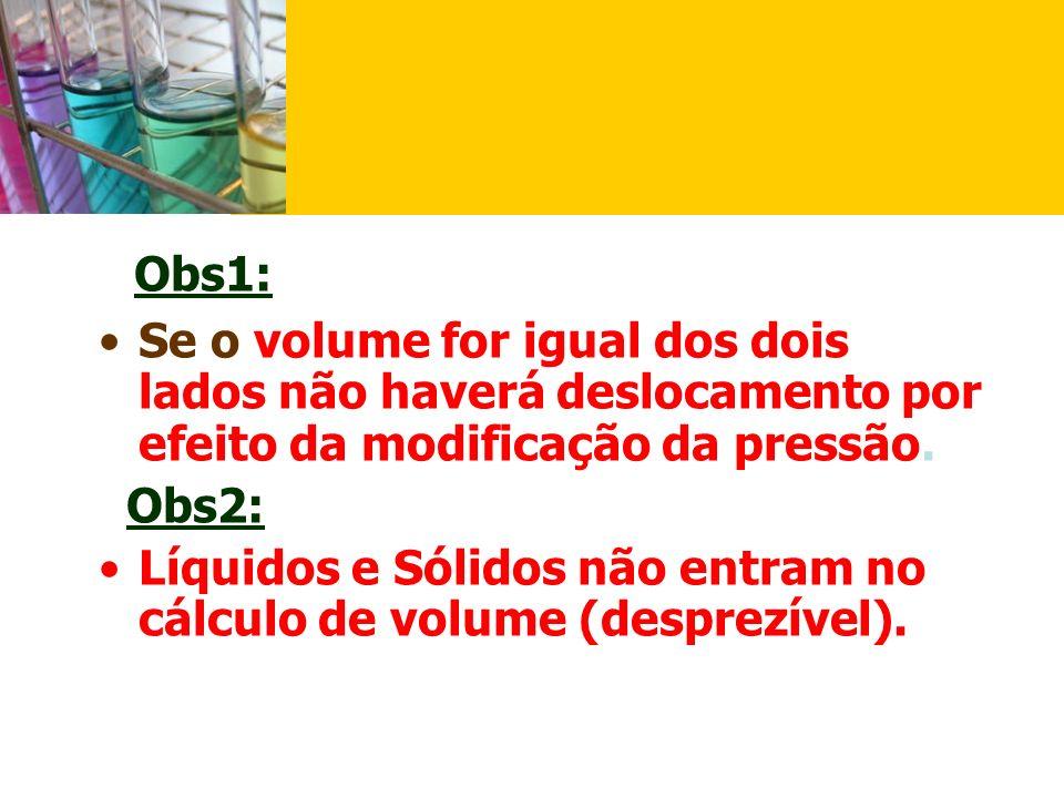 Obs1: Se o volume for igual dos dois lados não haverá deslocamento por efeito da modificação da pressão.