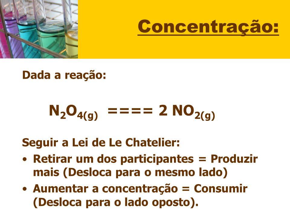 Concentração: Dada a reação: N2O4(g) ==== 2 NO2(g)