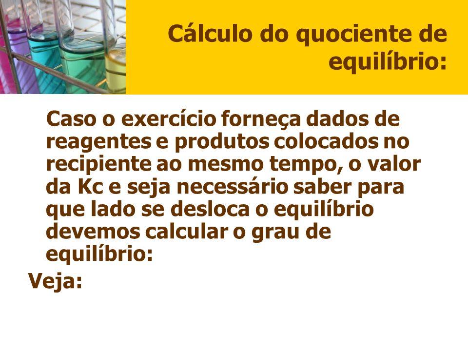 Cálculo do quociente de equilíbrio: