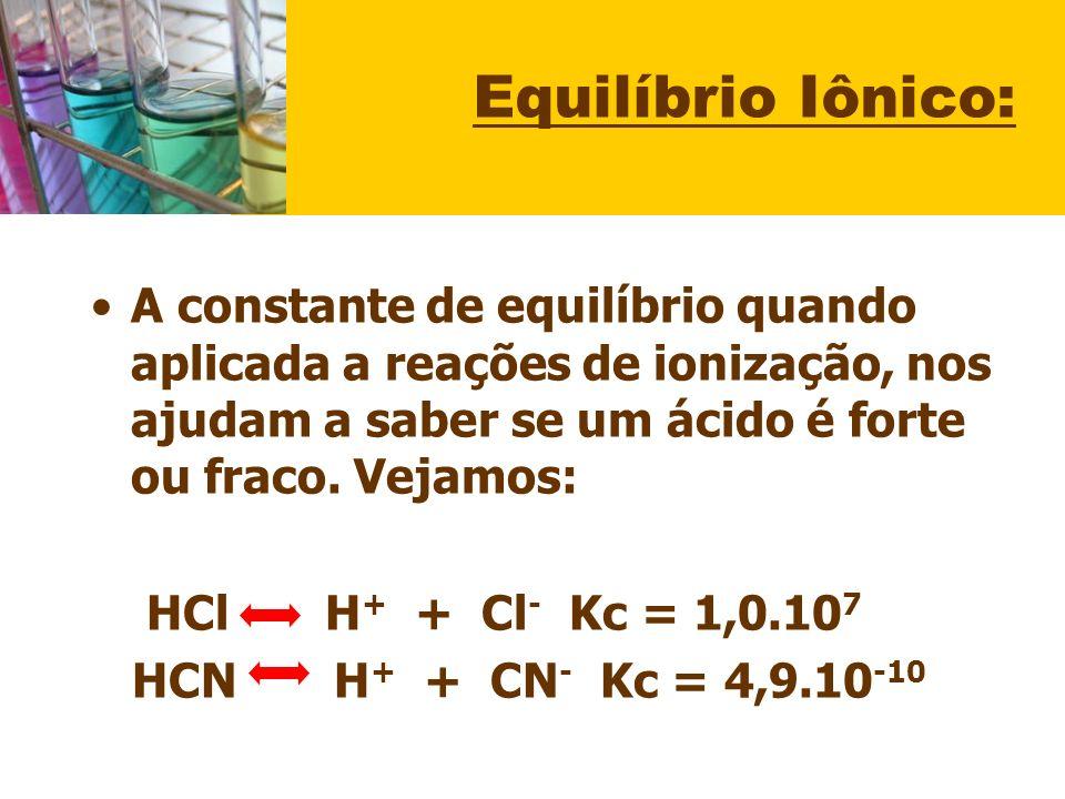 Equilíbrio Iônico: A constante de equilíbrio quando aplicada a reações de ionização, nos ajudam a saber se um ácido é forte ou fraco. Vejamos: