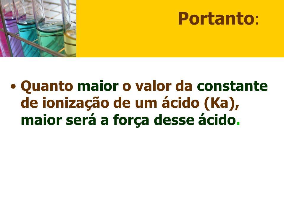 Portanto: Quanto maior o valor da constante de ionização de um ácido (Ka), maior será a força desse ácido.