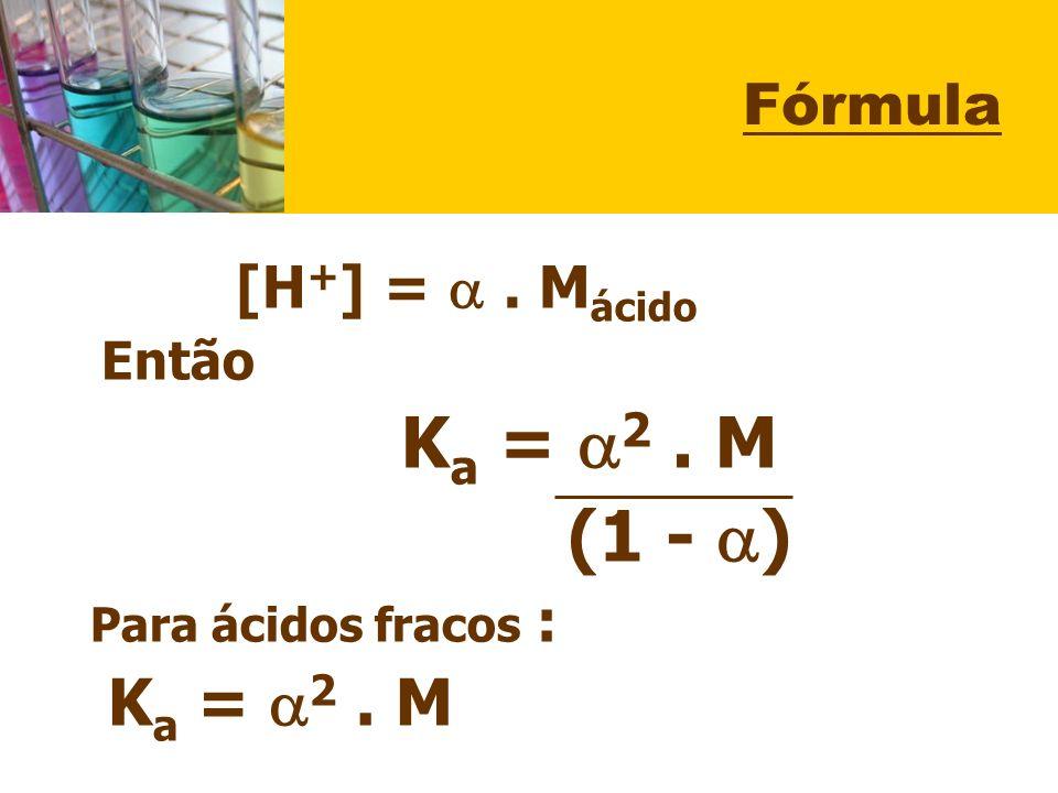 (1 - ) Fórmula Então Ka = 2 . M Para ácidos fracos :
