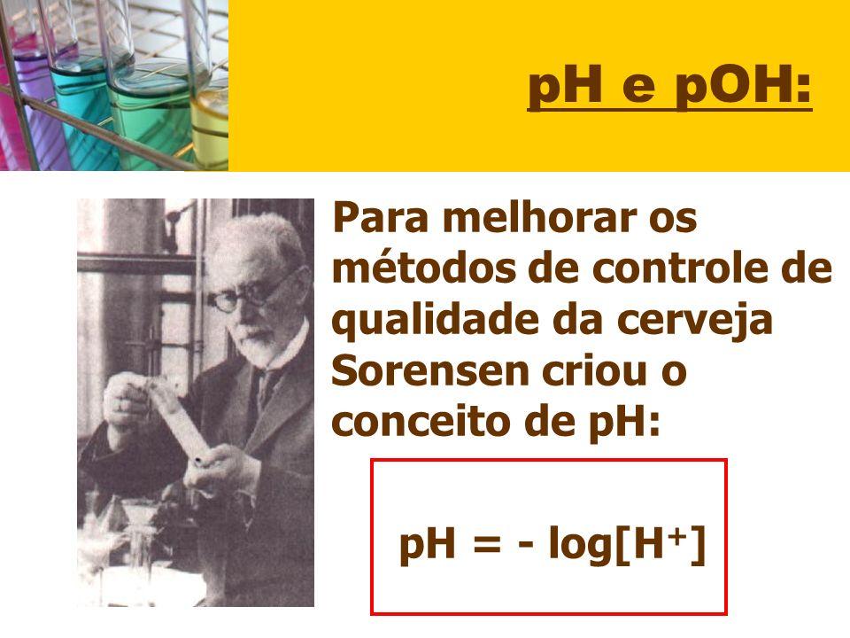 pH e pOH: Para melhorar os métodos de controle de qualidade da cerveja Sorensen criou o conceito de pH: