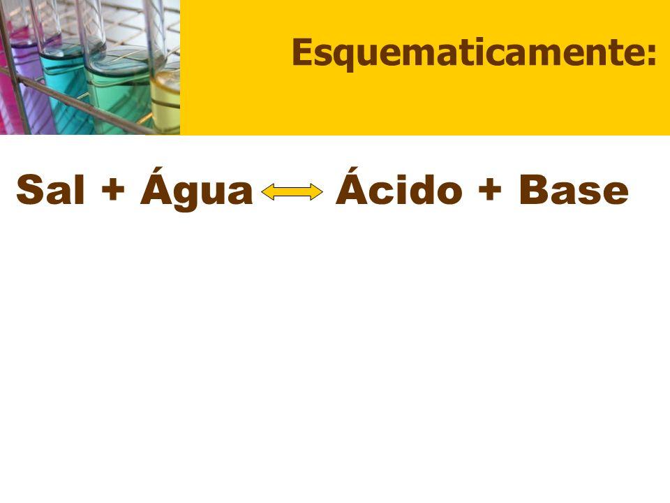 Esquematicamente: Sal + Água Ácido + Base