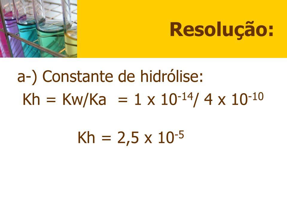 Resolução: a-) Constante de hidrólise: