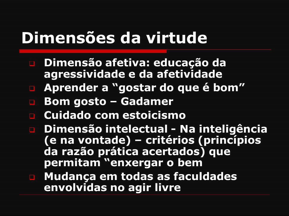 Dimensões da virtude Dimensão afetiva: educação da agressividade e da afetividade. Aprender a gostar do que é bom