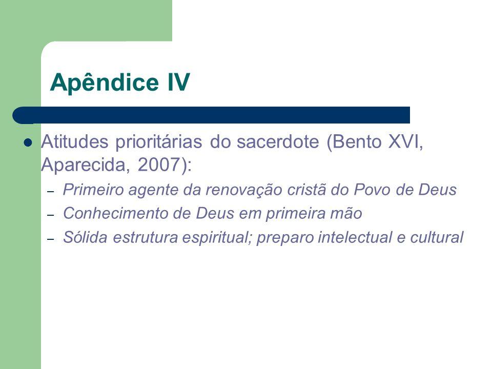 Apêndice IVAtitudes prioritárias do sacerdote (Bento XVI, Aparecida, 2007): Primeiro agente da renovação cristã do Povo de Deus.