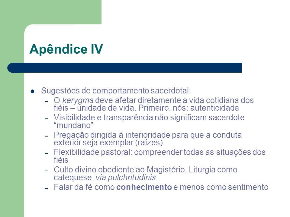 Apêndice IV Sugestões de comportamento sacerdotal: