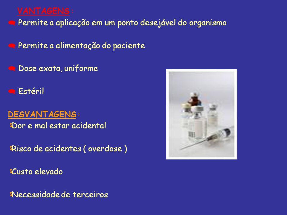 VANTAGENS : Permite a aplicação em um ponto desejável do organismo. Permite a alimentação do paciente.