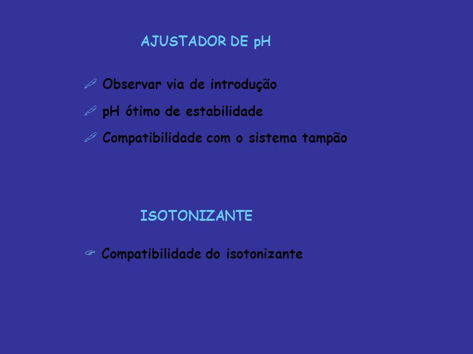AJUSTADOR DE pH Observar via de introdução. pH ótimo de estabilidade. Compatibilidade com o sistema tampão.
