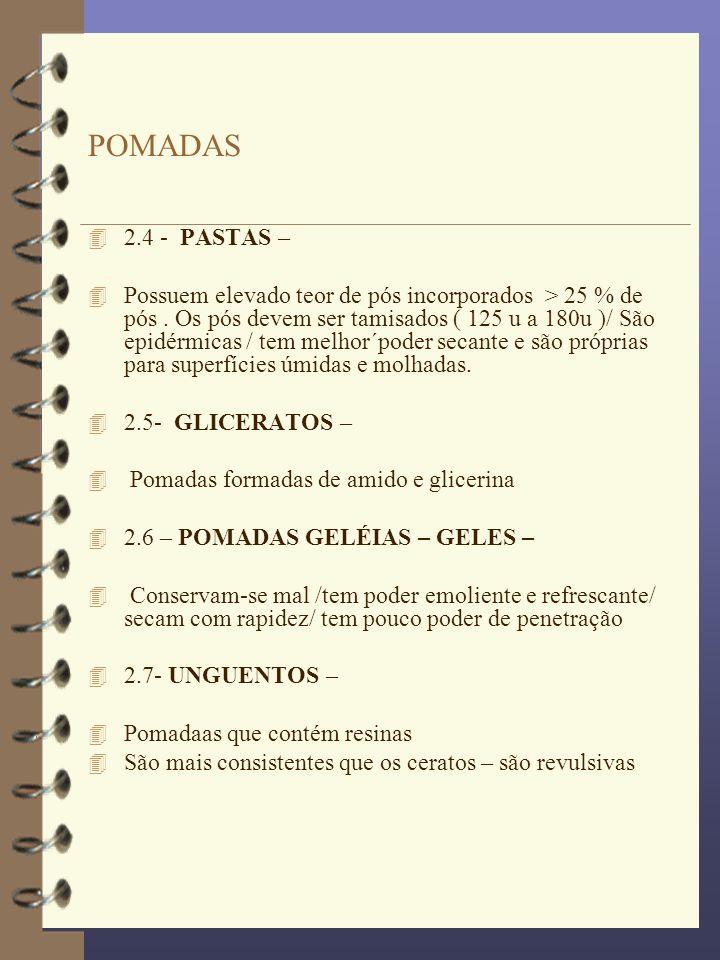 POMADAS 2.4 - PASTAS –