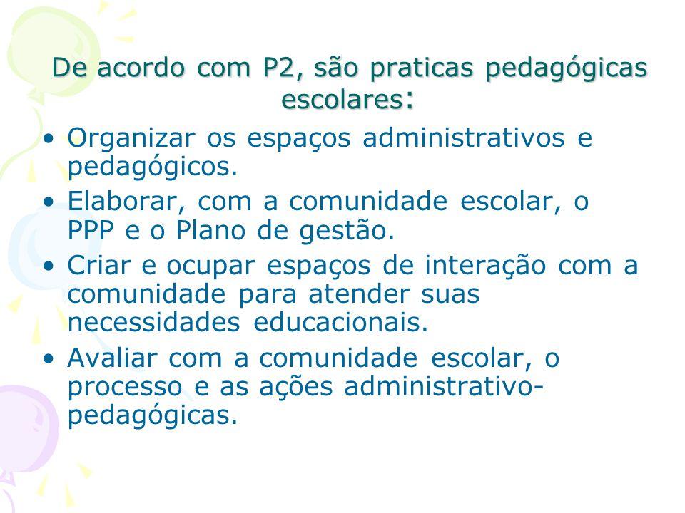 De acordo com P2, são praticas pedagógicas escolares:
