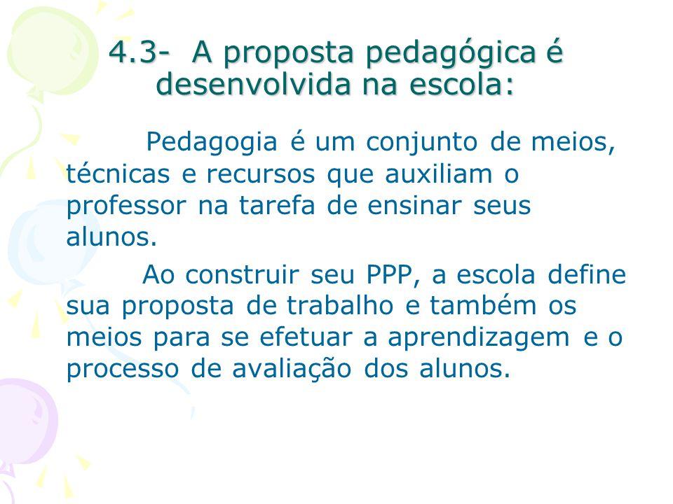 4.3- A proposta pedagógica é desenvolvida na escola: