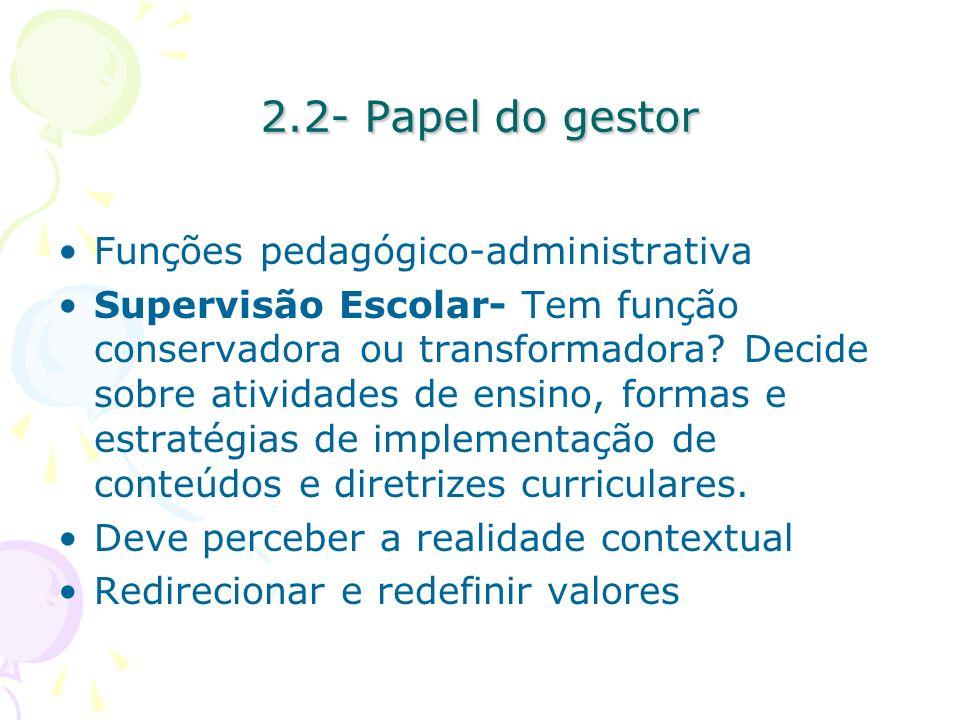 2.2- Papel do gestor Funções pedagógico-administrativa
