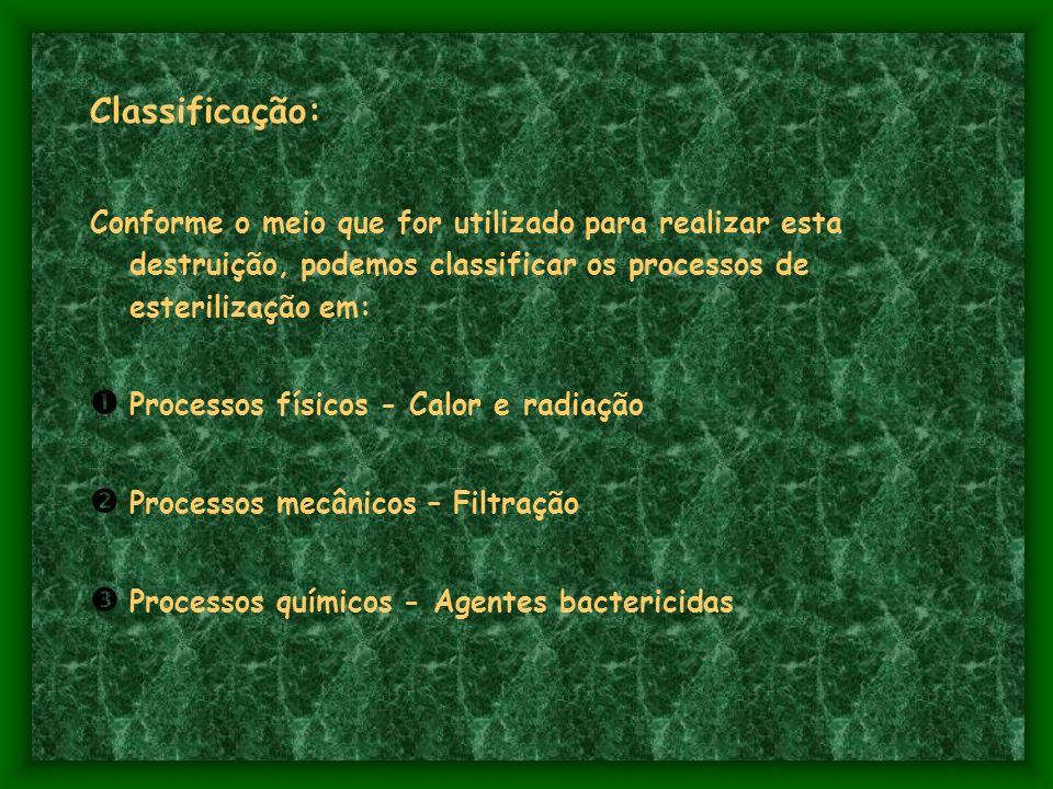 Classificação: Conforme o meio que for utilizado para realizar esta destruição, podemos classificar os processos de esterilização em: