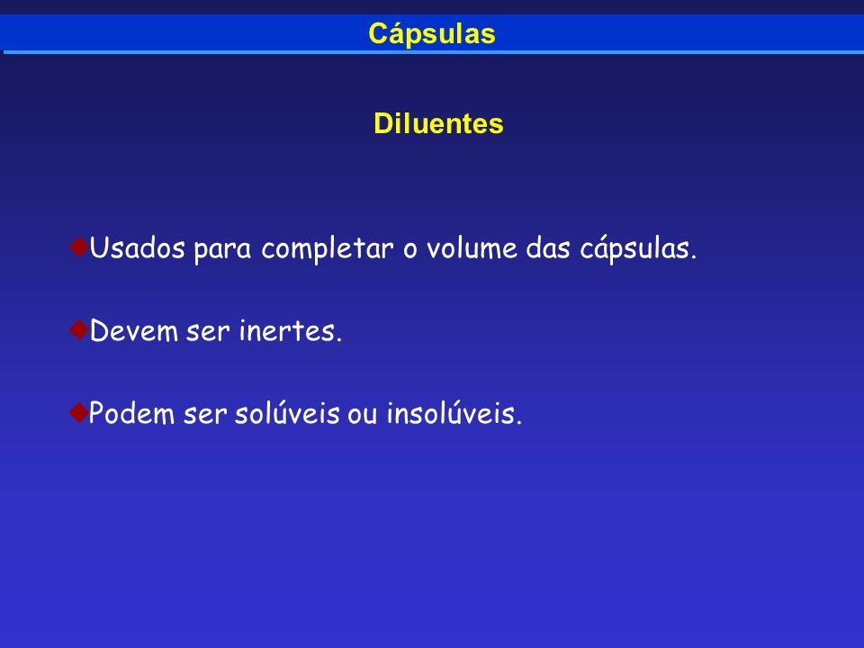 CápsulasDiluentes.Usados para completar o volume das cápsulas.