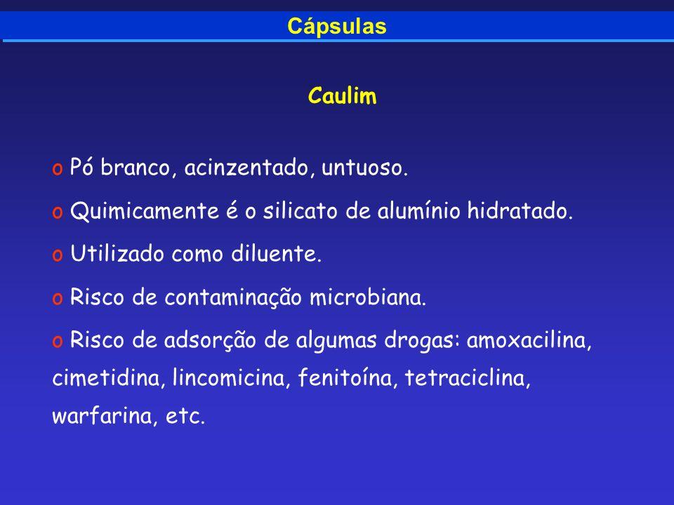 Cápsulas Caulim. Pó branco, acinzentado, untuoso. Quimicamente é o silicato de alumínio hidratado.