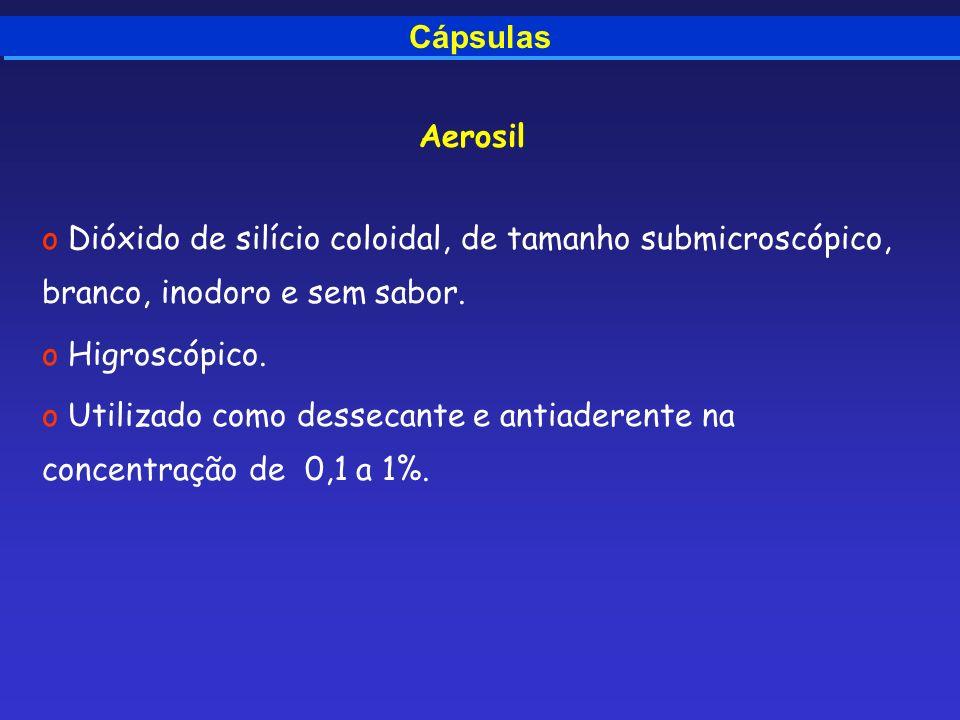Cápsulas Aerosil. Dióxido de silício coloidal, de tamanho submicroscópico, branco, inodoro e sem sabor.