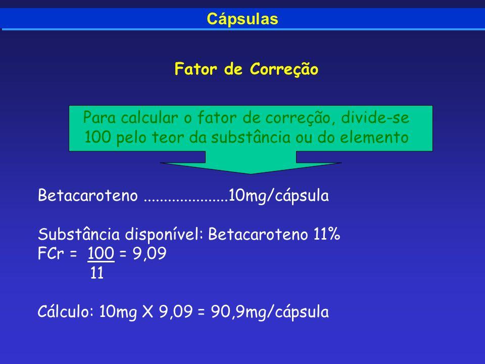 Para calcular o fator de correção, divide-se