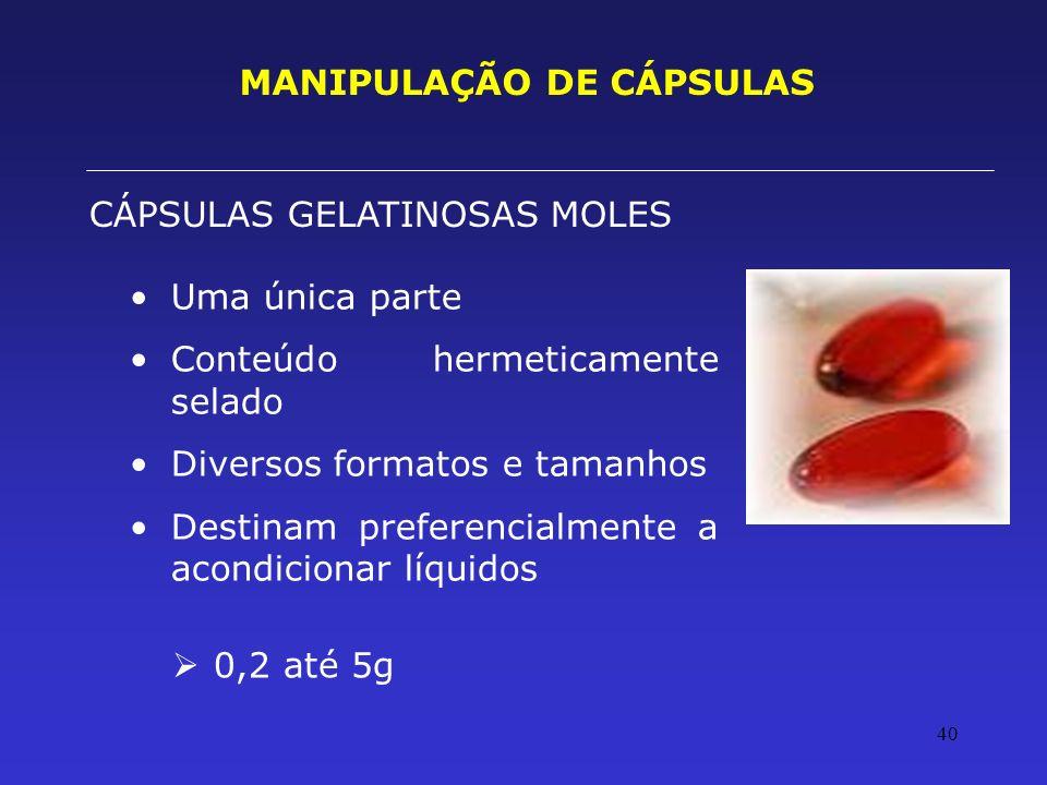 MANIPULAÇÃO DE CÁPSULAS