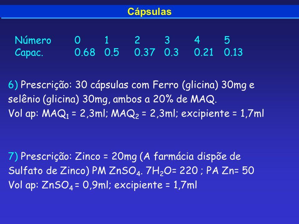 Cápsulas Número 0 1 2 3 4 5. Capac. 0.68 0.5 0.37 0.3 0.21 0.13.
