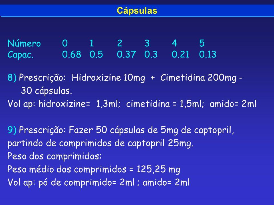 CápsulasNúmero 0 1 2 3 4 5. Capac. 0.68 0.5 0.37 0.3 0.21 0.13. 8) Prescrição: Hidroxizine 10mg + Cimetidina 200mg -