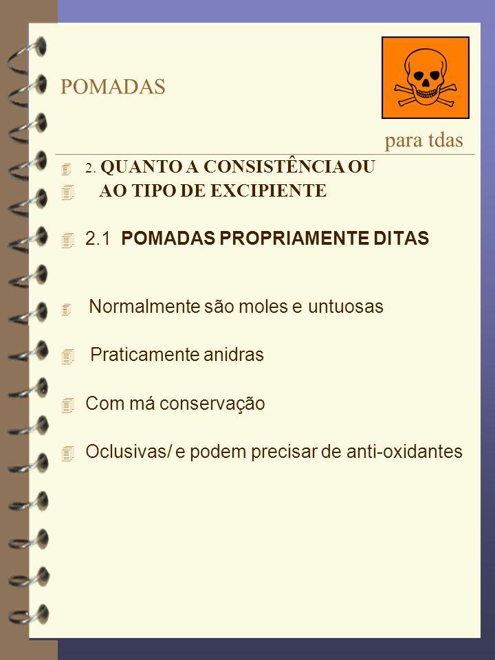 POMADAS para tdas AO TIPO DE EXCIPIENTE 2.1 POMADAS PROPRIAMENTE DITAS