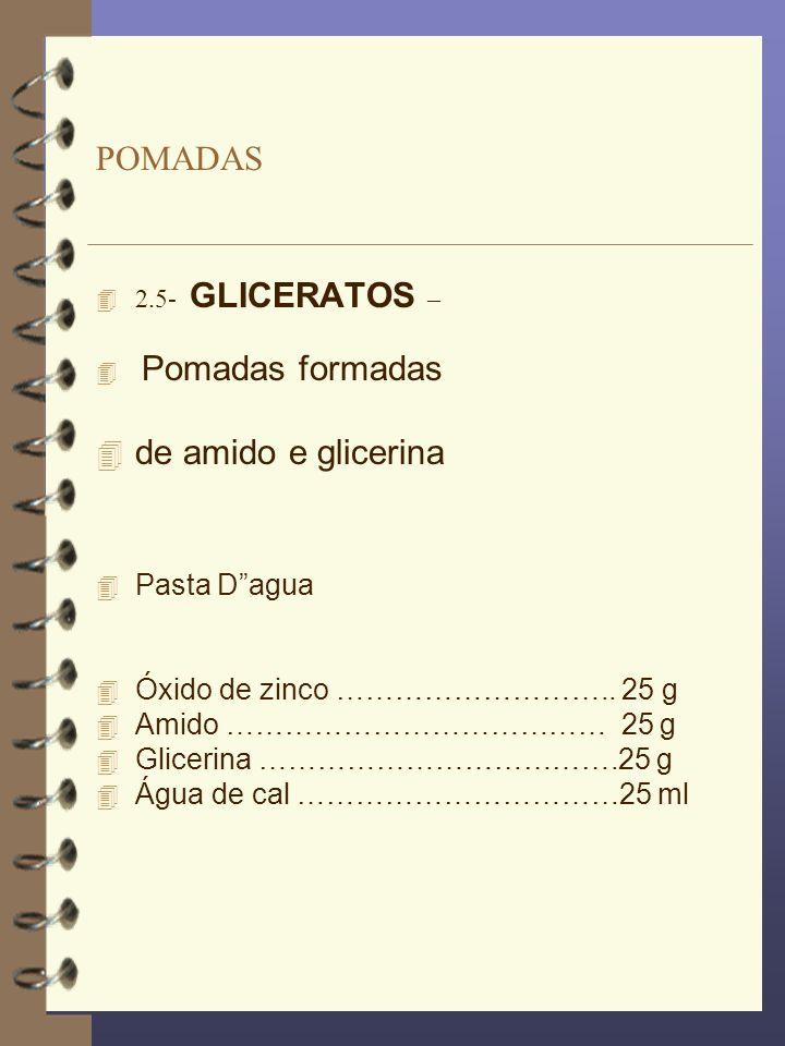 POMADAS de amido e glicerina Pasta D agua