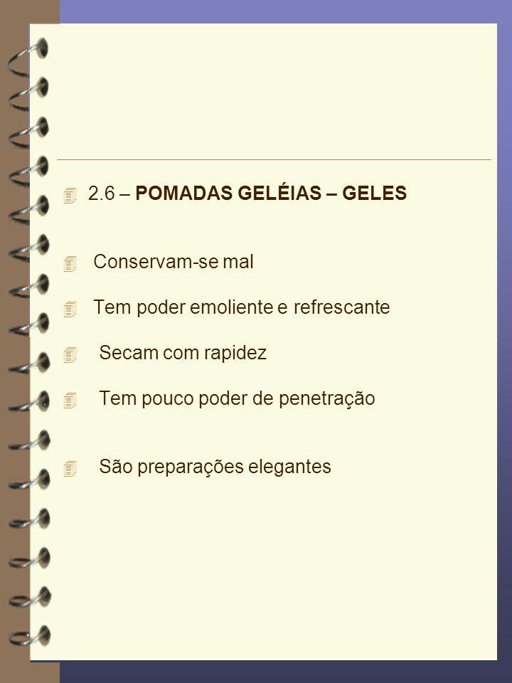 2.6 – POMADAS GELÉIAS – GELES