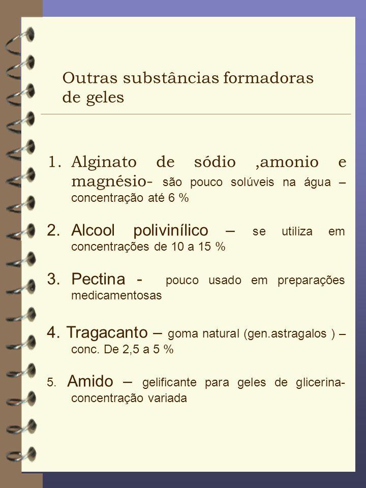 Outras substâncias formadoras de geles