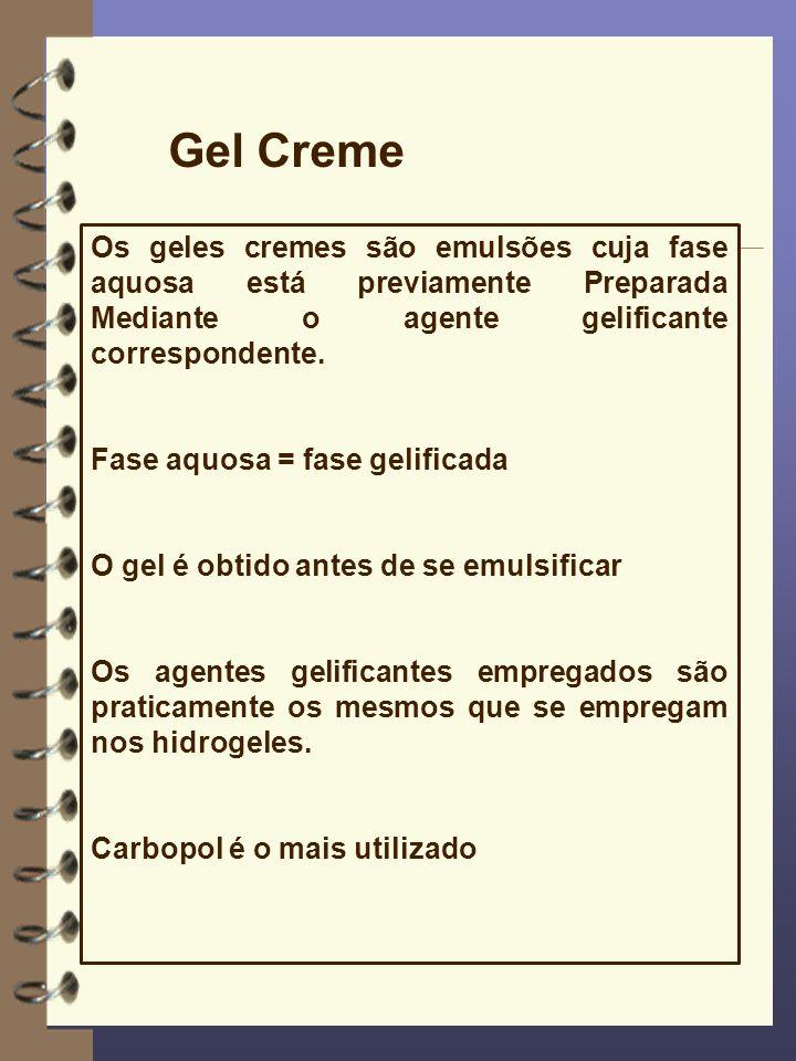 Gel Creme Os geles cremes são emulsões cuja fase aquosa está previamente Preparada Mediante o agente gelificante correspondente.