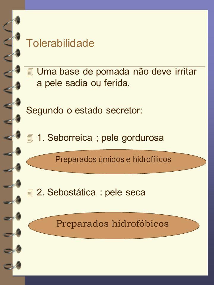 Tolerabilidade Uma base de pomada não deve irritar a pele sadia ou ferida. Segundo o estado secretor:
