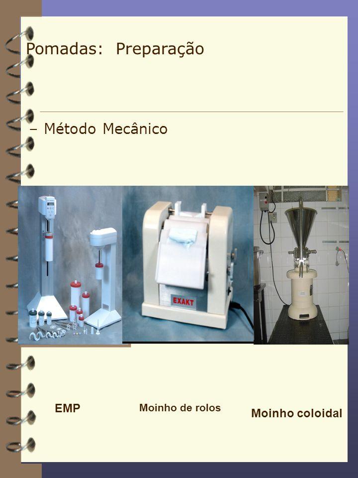Pomadas: Preparação Método Mecânico EMP Moinho coloidal