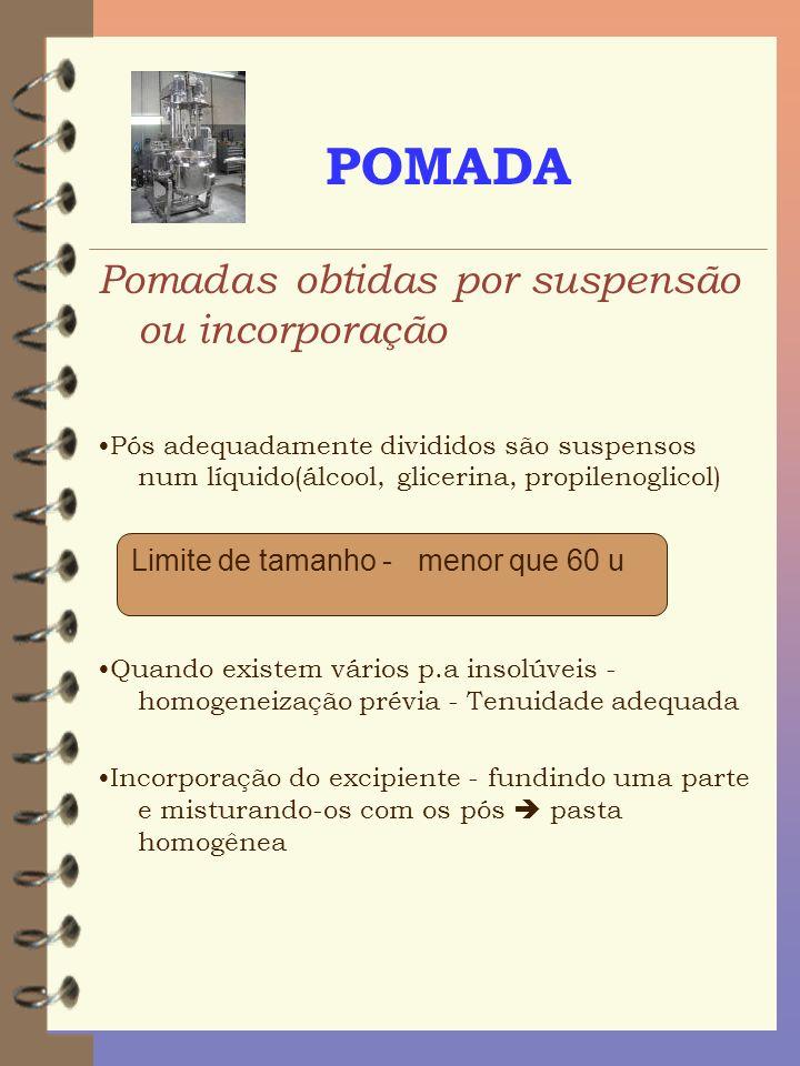 POMADA Pomadas obtidas por suspensão ou incorporação