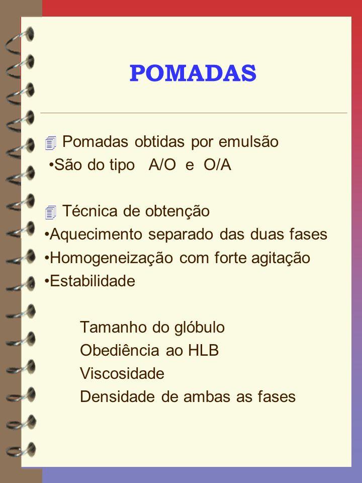 POMADAS Pomadas obtidas por emulsão •São do tipo A/O e O/A