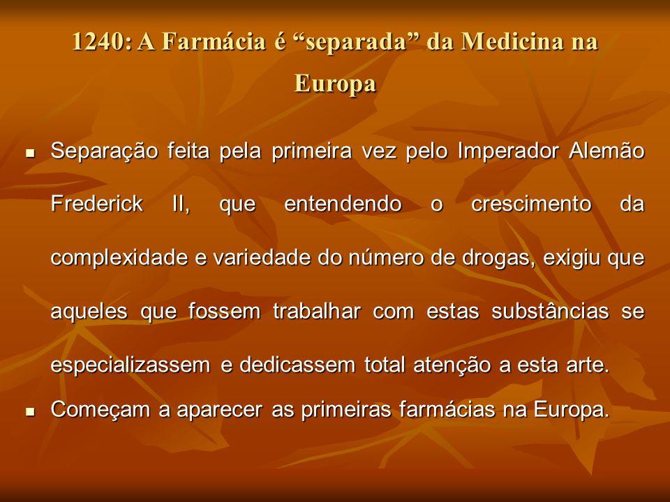1240: A Farmácia é separada da Medicina na Europa