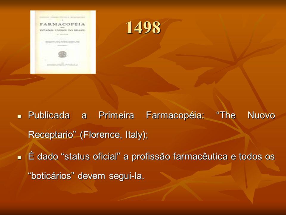 1498 Publicada a Primeira Farmacopéia: The Nuovo Receptario (Florence, Italy);